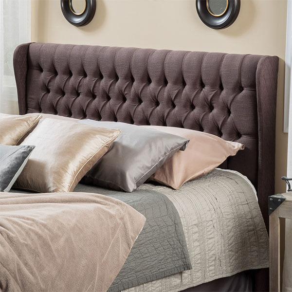 Hempstead Wingback Brown Fabric Headboard