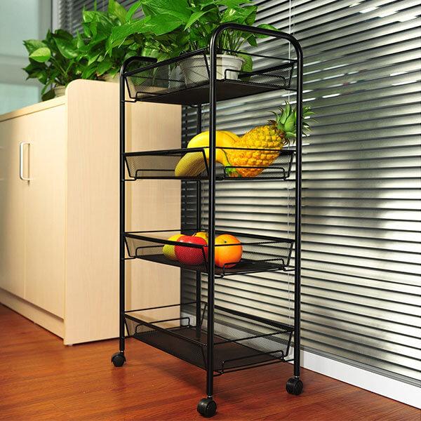 YIMU 4 Tier Wire Kitchen Cart, Black