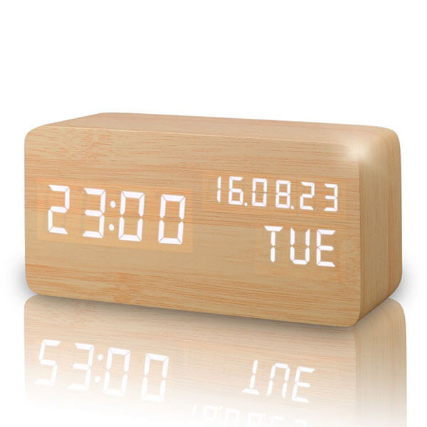 Wooden LED Digital Alarm Clock