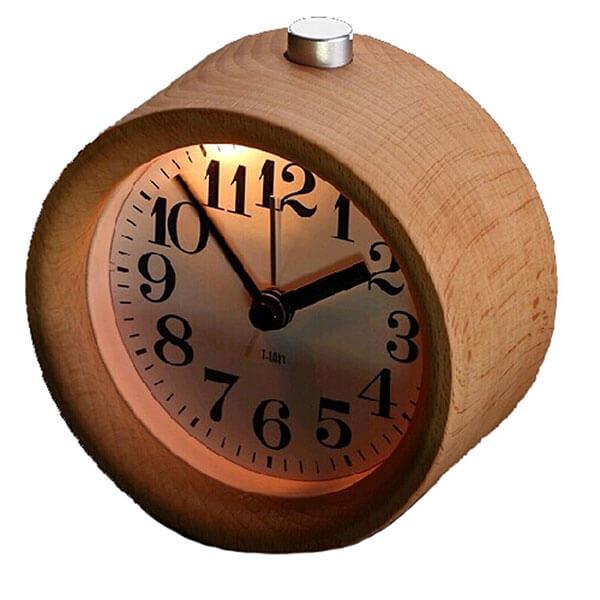 Glomarts Round Wooden Silent Desk Alarm Clock