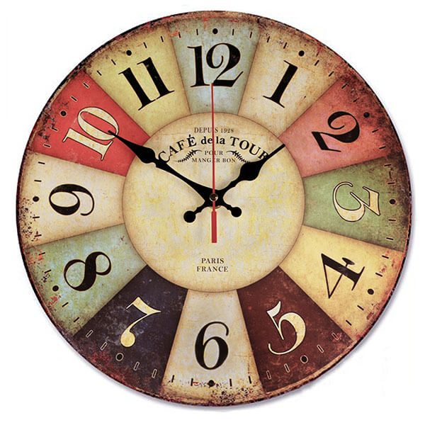 NALAKUVARA Retro Wooden Wall Clock