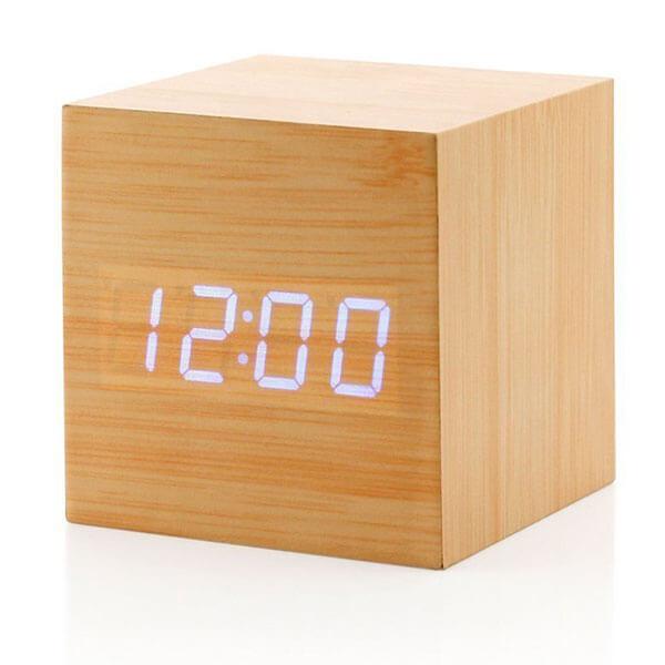 Wooden Cube Digital Alarm Clock