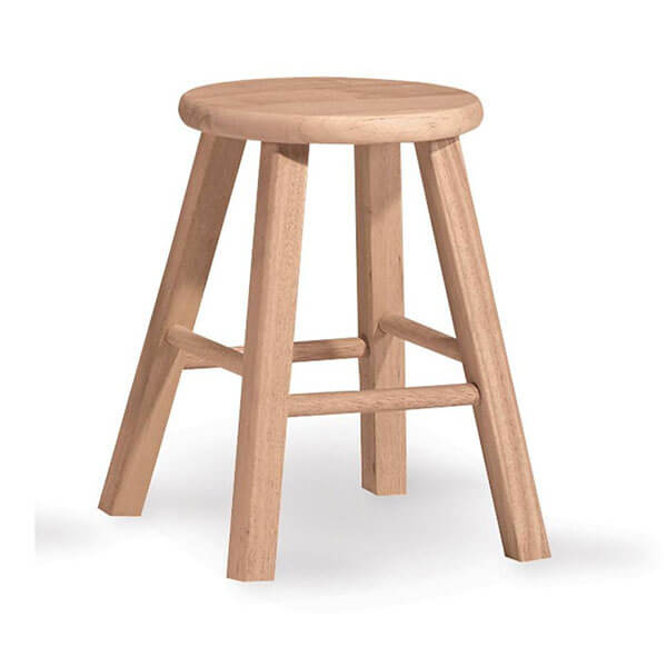 International Concepts Round Wooden Stool, Unfinished