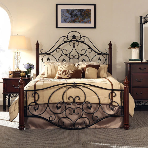 Madera Deco Scrollwork Metal Bed Frame