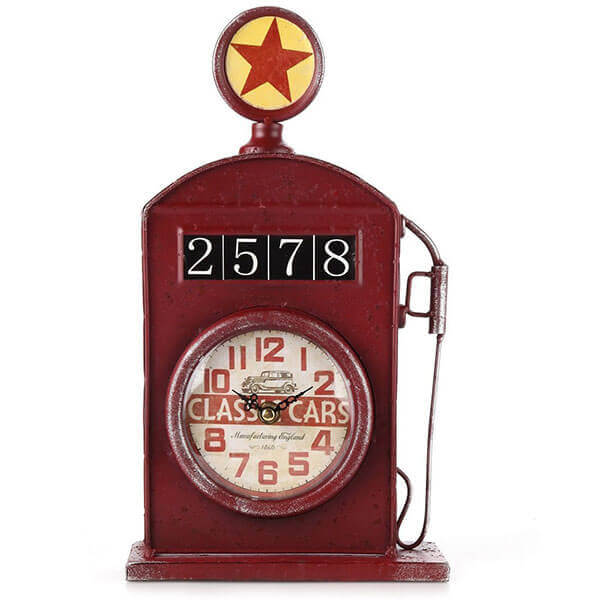 Lily's Home Antique Inspired English Red Gas Pump Mantle Clock