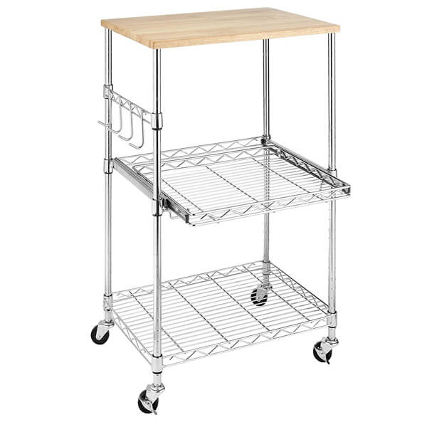 Whitmor Supreme Microwave Cart, Wood & Chrome