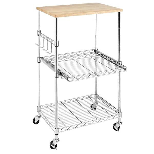 Whitmor Supreme Microwave Cart, Wood & Chrome
