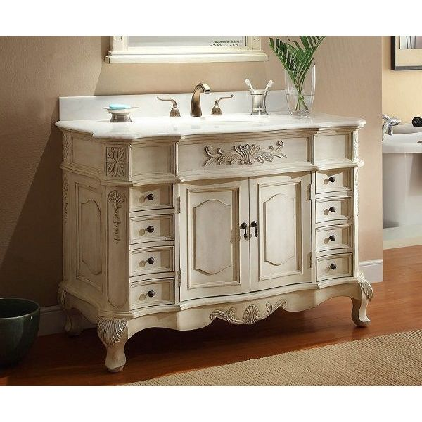 42-inch Traditional Style Antique White Bathroom Sink Vanity