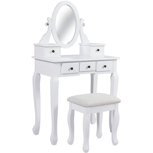 Best Choice Products White Vanity Table Set