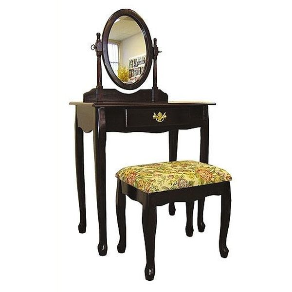Frenchi Home Furnishing Two Piece Vanity Set with Queen Anne Design, Rich Cherry Finish