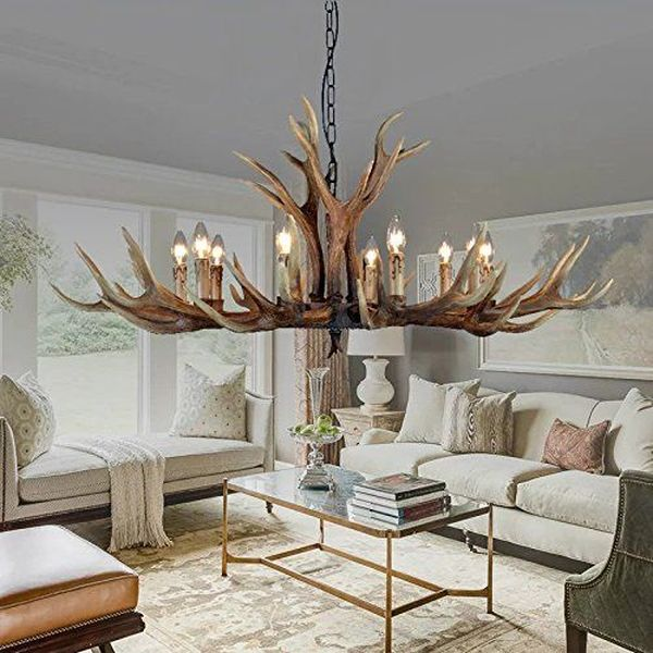 EFFORTINC Vintage Style 10 Light Antler Chandelier