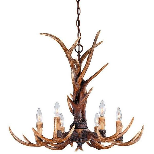 Savoy House Blue Ridge Collection 6-Light Antler Chandelier with New Tortoise Shell Finish