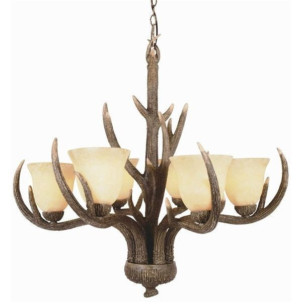 Trans Globe 6 Light Replica Deer Antler Chandelier