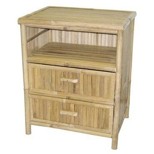 Natural Bamboo Nightstand with Two Drawers