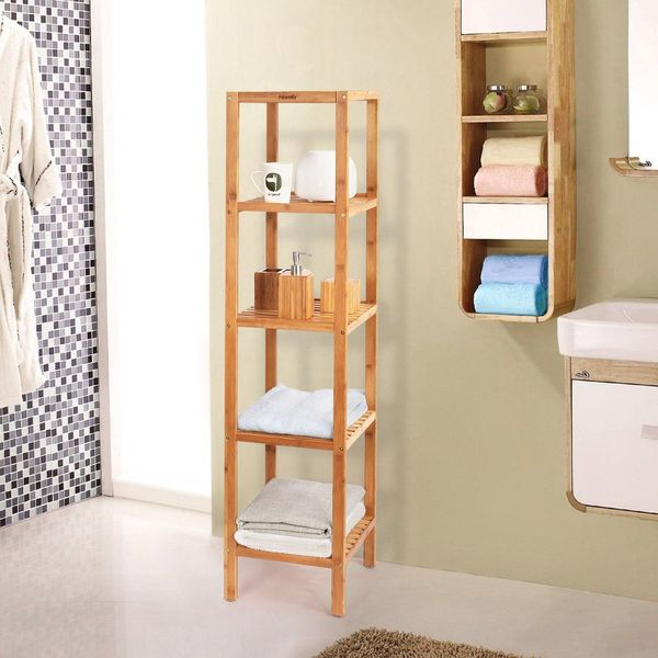 HOMFA 5-Tier Bamboo Bathroom Shelf