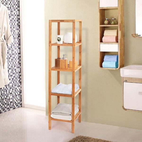 HOMFA 5-Tier Bamboo Bathroom Shelf