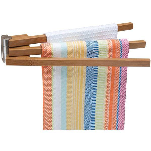 Better Housewares 2480 Wall-Mounted 3-Arm Bamboo Towel Bar