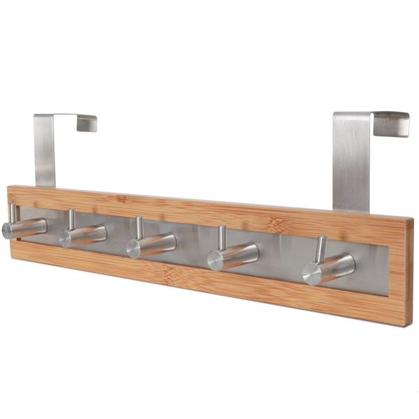 ToiletTree Products Stainless Steel and Bamboo Towel Rack
