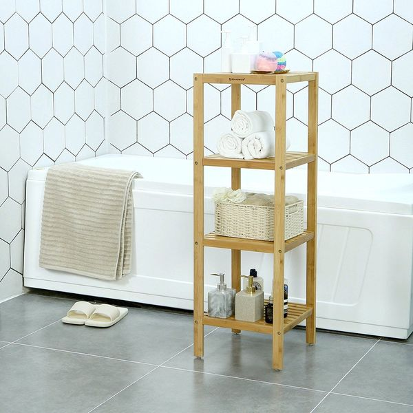 SONGMICS Bamboo Bathroom Towel Shelf