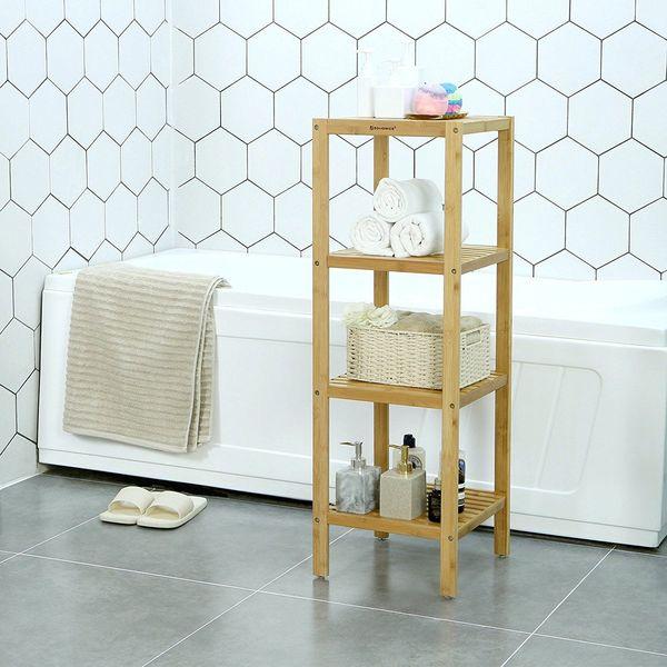 SONGMICS Bamboo Bathroom Towel Shelf