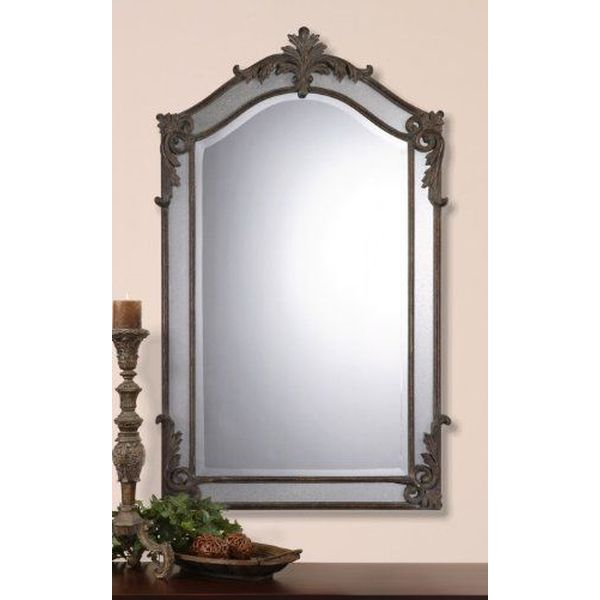 Large Arch Top Baroque Mirror in Antique Gold