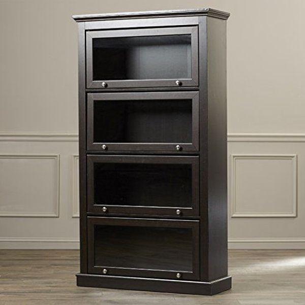 60-inch 4-Shelf Allen Barrister Glass and Wood Bookcase in Espresso