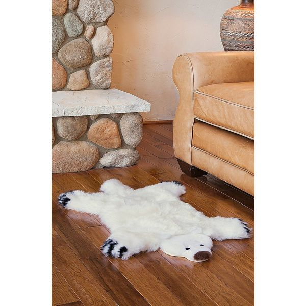 Classic White Sheepskin / Polar Bear Pelt Shape Rug