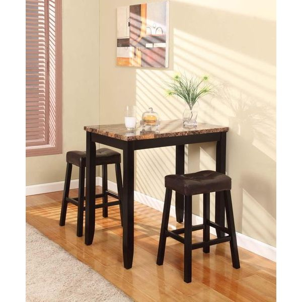 Roundhill 3-Piece Counter Height Glossy Print Marble Bistro Table with Stools