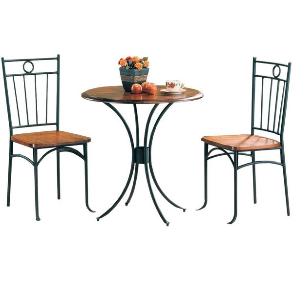 Coaster Metal and Wood 3-Piece Bistro Table/Chair Set