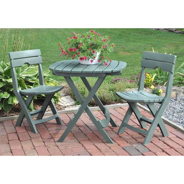 Adams Manufacturing Quik-Fold Cafe Bistro Set, Sage
