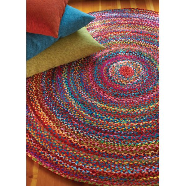 HF by LT Cotton Carnivale Rounded Braided Rug, Multi-Colored