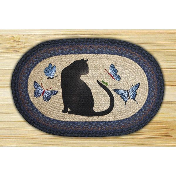 Oval Cat and Butterfly Braided Throw Rug