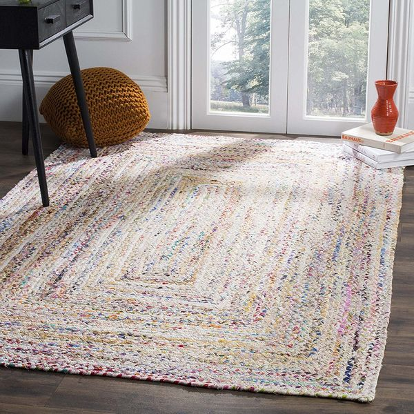 Safavieh Handwoven Ivory and Multicolored Braided Rug