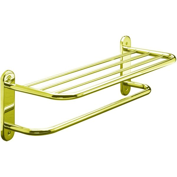 Taymor Hotel 24-Inch Polished Brass Towel Shelf with Single Bar
