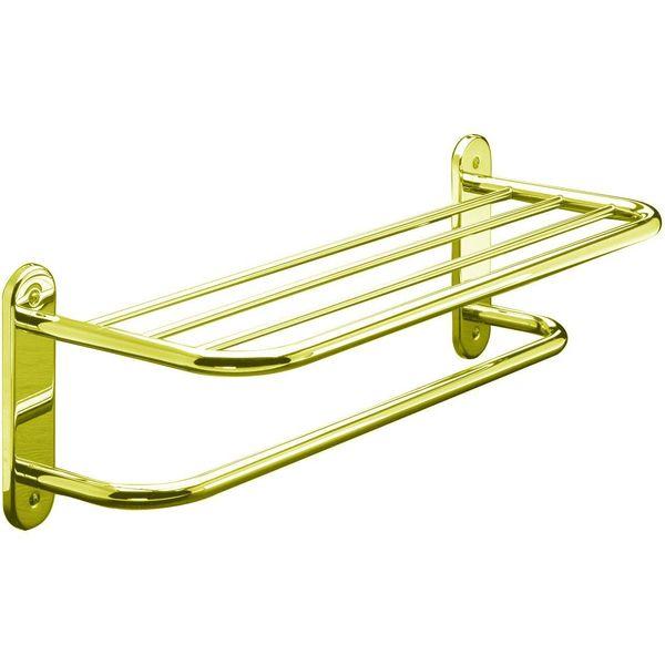 Taymor Hotel 24-Inch Polished Brass Towel Shelf with Single Bar