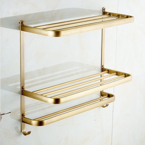 Rozin Dual Tier Brass Towel Holder