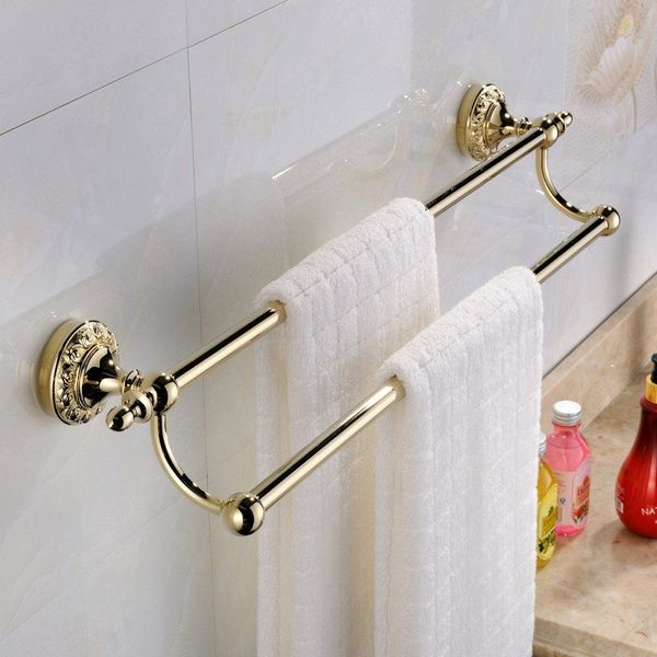 Leyden Wall Mounted Double Brass Towel Bar