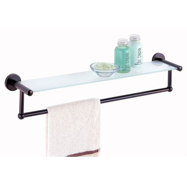 Organize-It-All Oil Rubbed Glass Shelf with Towel Bar
