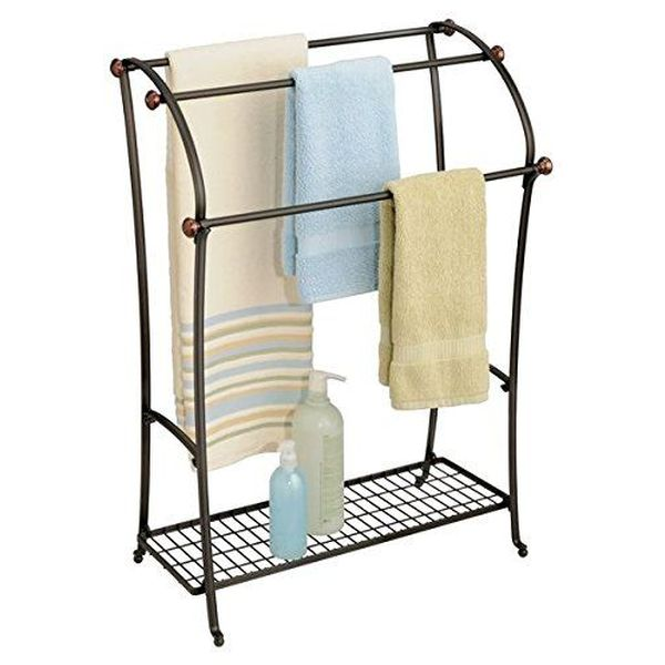 mDesign Free Standing Two Tone Bronze Towel Rack