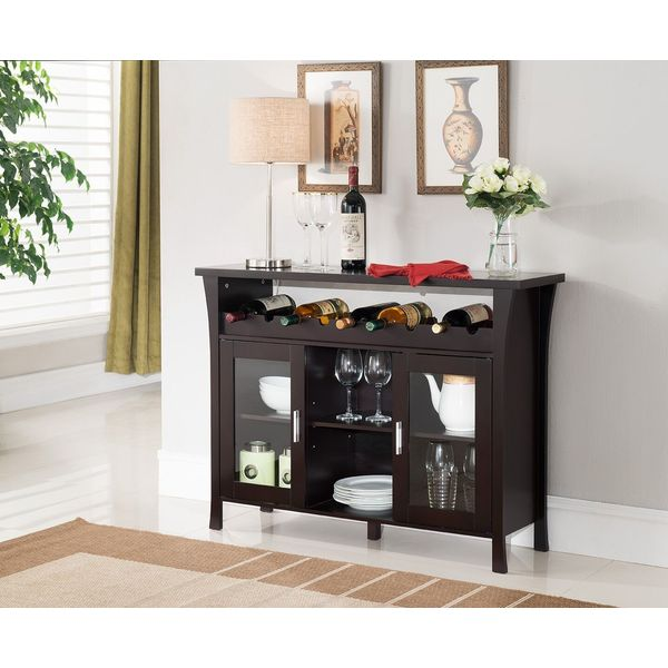 Kings Brand Furniture Buffet Cabinet with Glass Doors, Espresso
