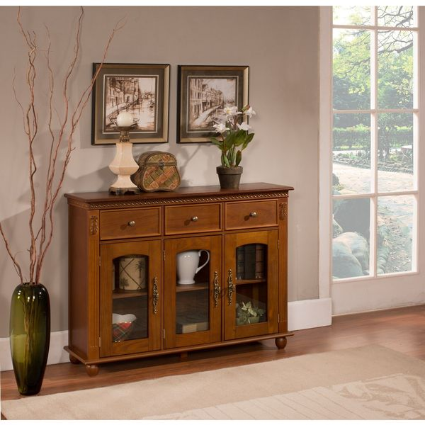 Kings Brand Furniture Buffet Table with Storage, Walnut