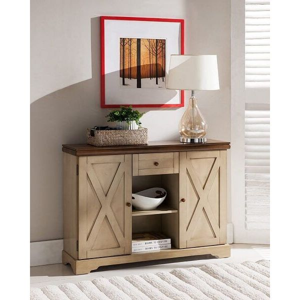 Kings Brand Furniture Buffet Cabinet, Antique White/Walnut
