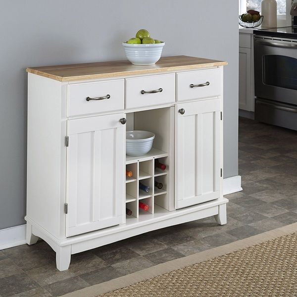 Hutch-Style Buffet Cabinet, White/Natural