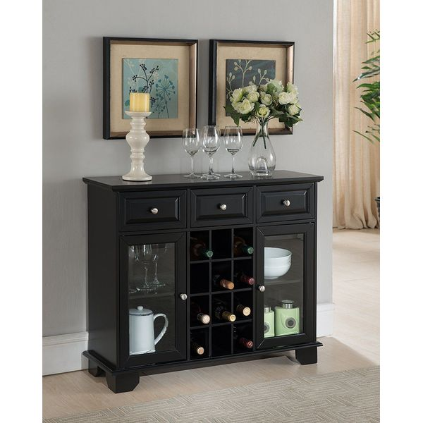 Kings Brand Furniture Buffet Server Cabinet with Wine Storage, Black
