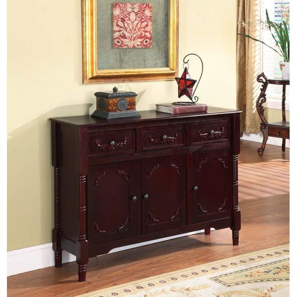King's Brand BuffetTable with Drawers and Storage, Cherry Finish