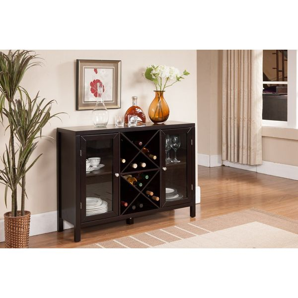 Kings Brand Furniture Buffet Table with Wine Storage, Espresso