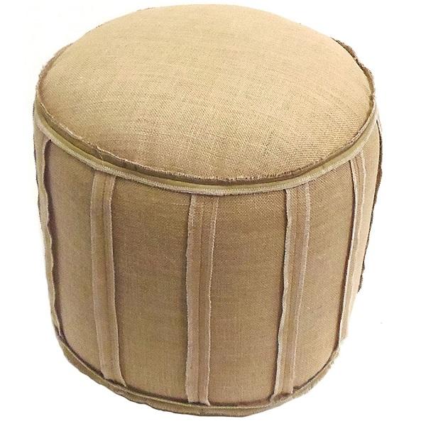 Cotton Craft Rustic Burlap Ottoman