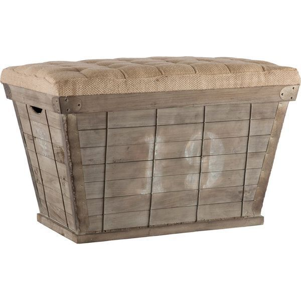 French Country Long Storage Crate Burlap Ottoman with White Lettering