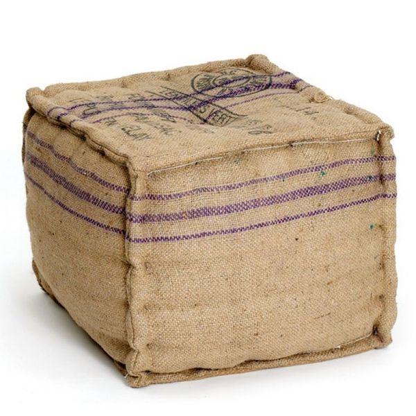 Vintage Farmhouse Burlap Printed Cube Ottoman