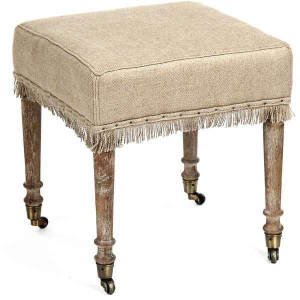 Alfreda French Country 18-Inch Square Burlap Bleached Wood Ottoman